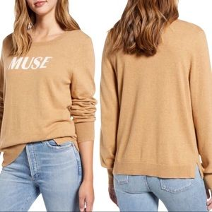 COURT & ROWE Muse Cotton Blend Sweater Taupe Sz L